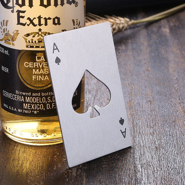 Black/silver Poker Card shaped Beer Bottle Wine Jar Opener Personalized Creative Stainless Steel Bottle Opener Bar Tool 1pcs