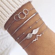 ZORCVENS 5 Pcs/set Bohemian Retro Circle Heartbeat Angel Wings Beaded Bracelet Set Silver Color Charm Bracelets for Woman