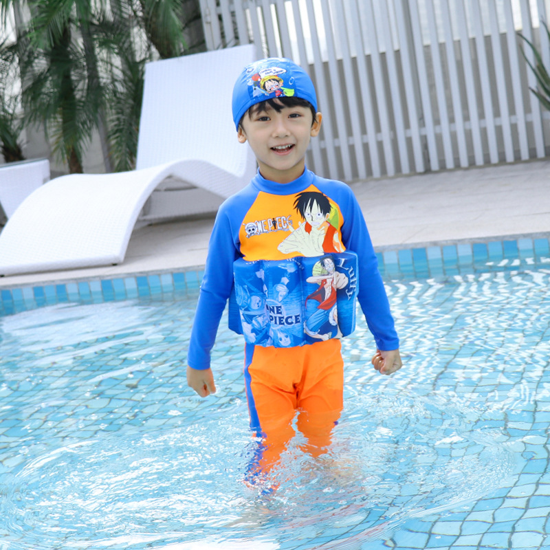 Nautical King Boy Sports Bathing Suit Swimming Cap One-piece Set Long Sleeve Trousers Sun-resistant Warm Children Buoyancy Bathi