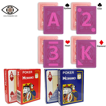 Marked cards for contact lenses.MODIANO 4 Numbers plastic infrared cheat poker invisible marks, anti gambling cheating device