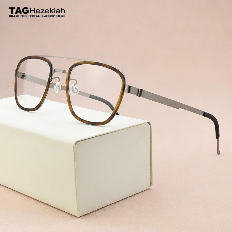 2019 fashion brand Square eyeglasses Women's titanium glasses frame men optical glasses frame women spectacle frames Men's 9708-in Men's Eyewear Frames from Apparel Accessories