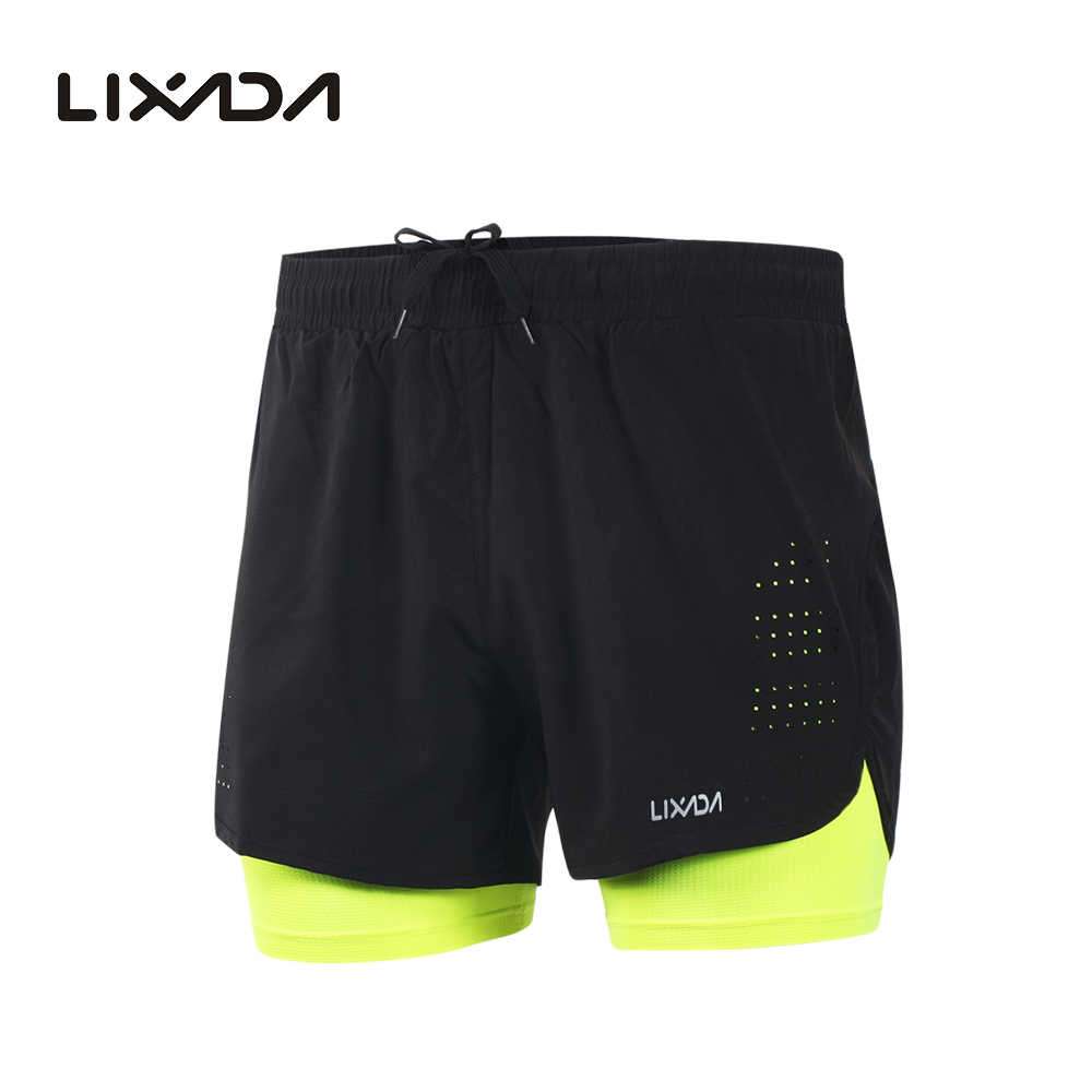Lixada Men's 2-in-1 Running Shorts Quick Drying Breathable Active Training Exercise Jogging Cycling Shorts with Longer Liner