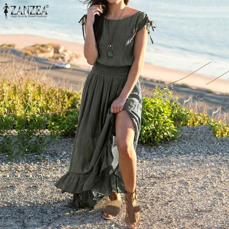 ZANZEA 2020 Womens Summer Sundress Elegant Split Maxi Dress Short Sleeve High Waist Long Vestidos Plus Size Casual Robe Femme