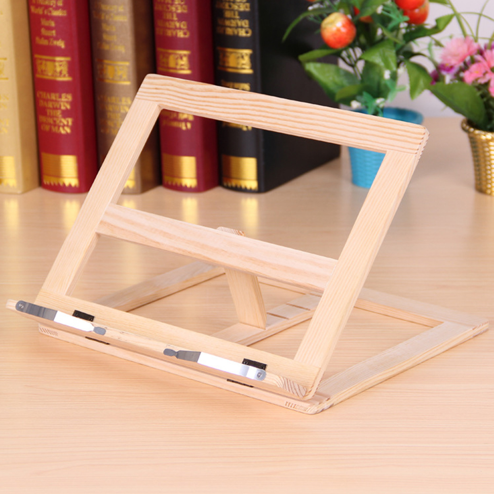 Tablet Support Durable Wooden Frame Desk Holder Adjustable Angle Music Foldable Reading Bracket Book Stand For Bookshelf Office