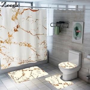 Image 1 - バスマットフック浴室の敷物セット抗床のカーペットシャワー大理石プリントトイレカバーカーペットセット