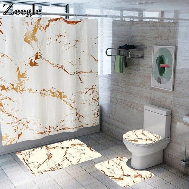 Коврик для ванной, занавеска с крючками, коврик для ванной комнаты, противоскользящий пол, ковер для душа с мраморным принтом, набор ковров для унитаза