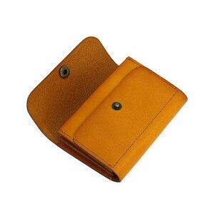 Image 3 - Carteiras de cartão de crédito couro genuíno artesanal id bus bolsa de cartão de licença dos homens de couro mini cintura bolsa de moedas