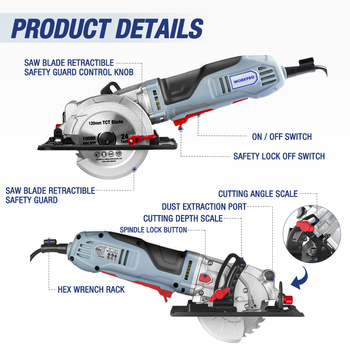 WORKPRO Electric Mini Circular Saw Power Tools 750W Multifunctional Electric Saw With TCT Blade and Diamond Blade Sawing Machine 5