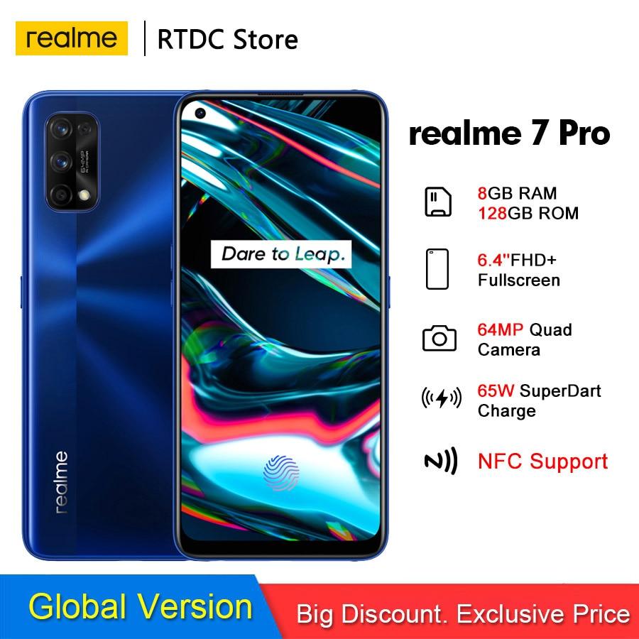 Realme 7 Pro RMX2170 NFC Global 6,4 ''FHD + 8GB 128GB смартфон 65 Вт SuperDart зарядка 10V/6.5A 64MP Octa Core 4500 мАч мобильный телефон