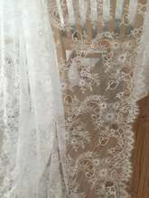 3 Meters/lot  150cm wide double eylelash chantilly fabric Exquisite Lace Embroidery Clothes Wedding Dress Accessories