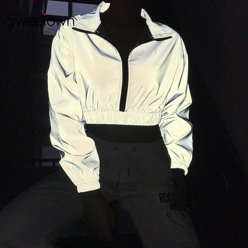 Sweetown Fall 2019 Silver Reflective Crop Sweatshirt Women Streetwear Turtleneck Long Sleeve Bomber Punk Sweatshirt Pullovers