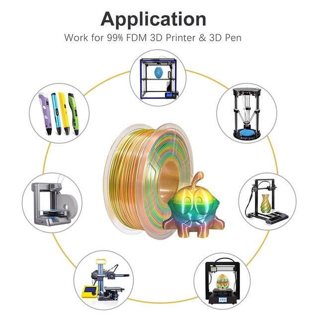 SUNLU 1.75mm PLA soie arc-en-ciel couleur 3D imprimante Filament enchevêtrement gratuit 100% pas de bulle avec sac sous vide tolérance demballage +/-0.02mm