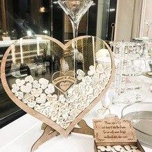 Индивидуальная Свадебная книга в форме сердца, деревянная коробка с подвеской, индивидуальная альтернатива акриловой капельке, оформление...