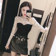 Autumn 2019 New Korean Sexy Westernization Fake Two Chest-wrapped T-shirts, Slim and Slim Blouse, Trendy and Thin 9972(China)