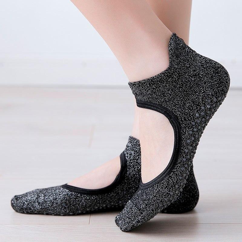 Women Yoga Socks Backless Anti-Slip Ankle Grip Socks Dots Pilates Fitness Gym Ladies Sports Socks Dance Ballet Cotton Socks