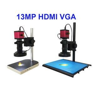 Image 3 - 13MP HDMI VGA /22MP HD USB TF монокулярный микроскоп цифровая камера Объектив 56 светодиодная большая стойка для верстака ремонт телефона пайка