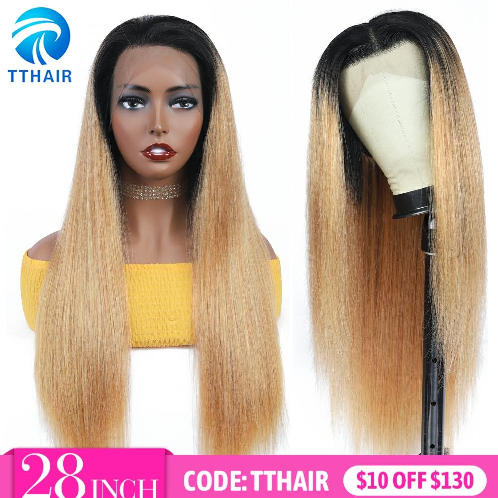 TTHAIR Ombre Human Hair Wigs Straight Lace Frontal Wig Honey Blonde Lace Front Wigs Transparent Lace Wigs Peruvian Remy 28 Inch