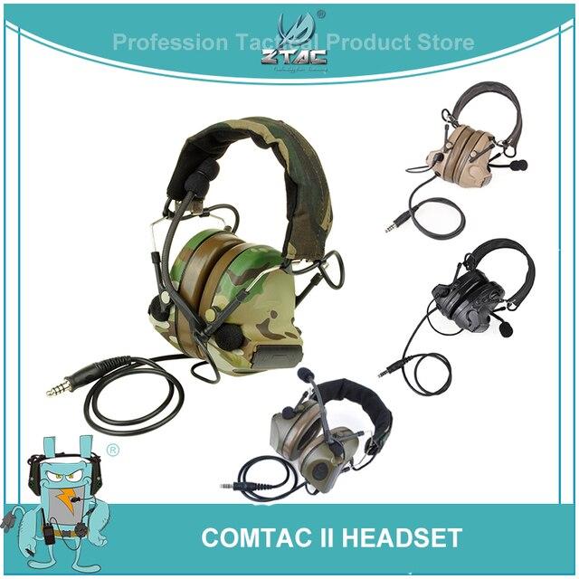 Z Tac Tactical Headset Peltor Comtac II Helmet Aviation Headset Airsoft  Active Headset Military Shooting Headphones Softair