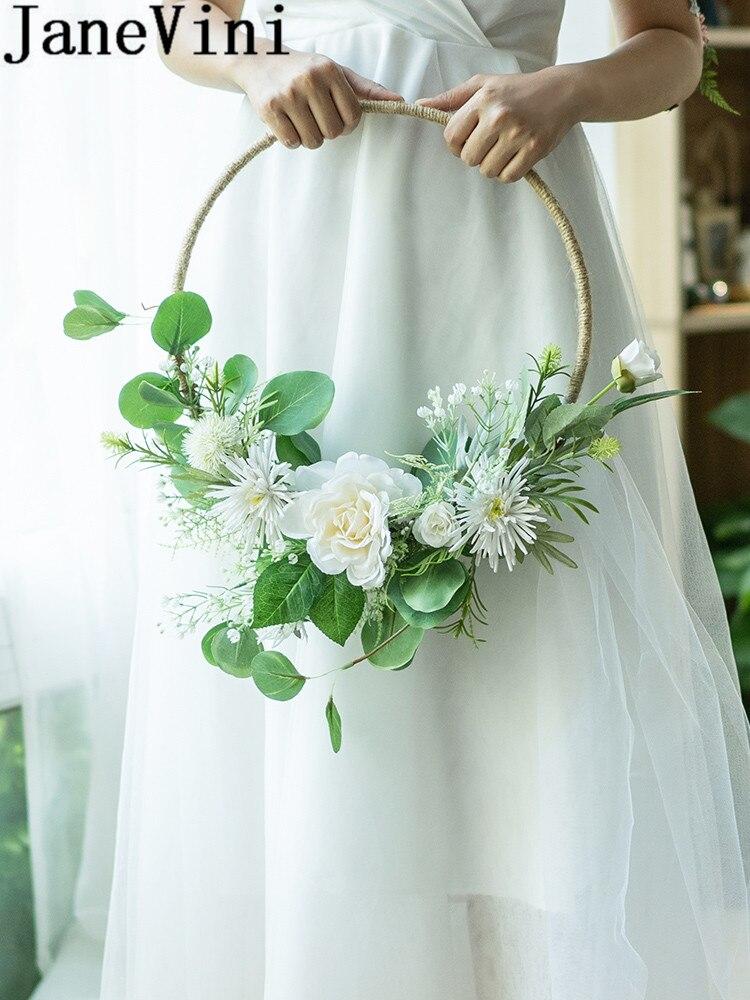 JaneVini White Rose Bride Flower Wreath Garland Wedding Bouquet Green Round Bridal Fake Flowers Basket Bouquets Door Decoration