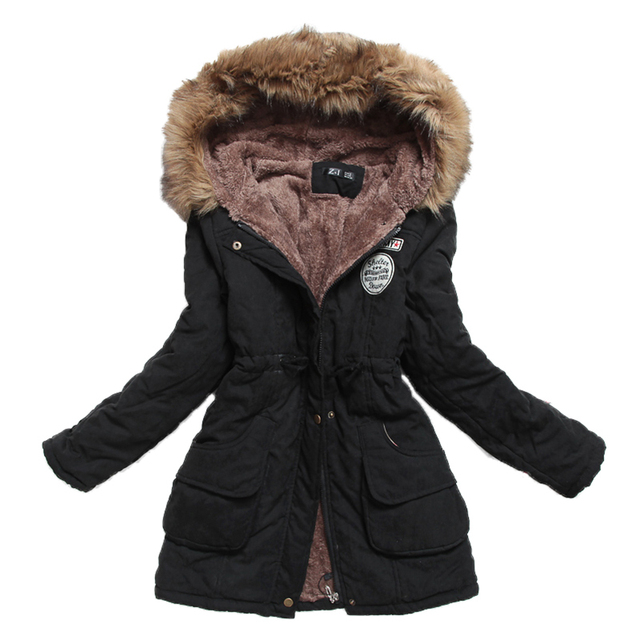 new winter women jacket medium-long thicken plus size 4XL outwear hooded wadded coat slim parka cotton-padded jacket overcoat 1