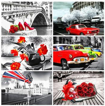 flower diamond painting landscape mosaic art embroidery stitch car rhinestone picture puzzle toy children gifts wall decor craft image