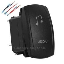 Müzik beyaz Led Rocker anahtarı 3 Pin On Off SPST 12V/20A 24V/10A + aktarma kabloları seti araba tekne su geçirmez