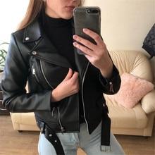 Новое поступление 2020, Женская осенне-зимняя куртка из искусственной кожи, одноцветная мотоциклетная куртка большого размера, Женская мотоц...