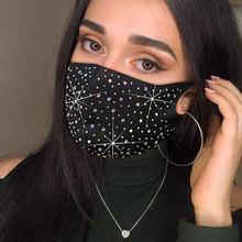 Moda sexy glitter strass engraçado máscara diamante crytal decoração facemask para casamento discoteca festa mostrar