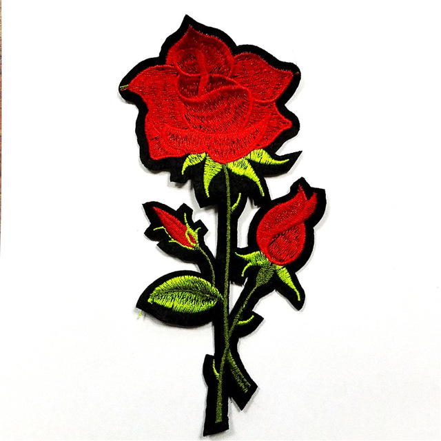 Rose Flower Patches Embroidery Applique Clothes Sewing Patch DIY Badge Patch Accessories Could Make As Your Logo