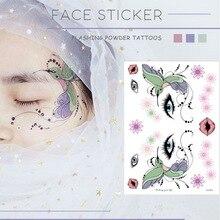 Временные Татуировки женские наклейки для Лица Фестиваль Временные татуировки для лица цветок бабочка переводная татуировка девушки макияж наклейка