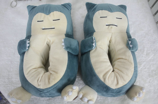 Plush Home Slippers Warm Cotton Shoes Anime Pokemon Cosplay Snorlax Shoes Women /Men Lovers Slippers Adult Plush Size.