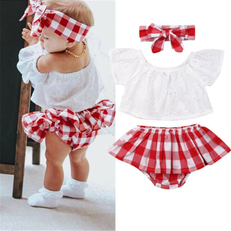 Red Plaid Outfits Set Baby Girl Ruffle Sleeve Skirt Lapel White T Shirts Tops Infant Cotton Overall Skirts