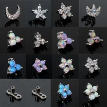1pc G23 Titanium Micro Dérmica Opala Gem Micro Dermal Anchor Top De Cristal Superfície Piercing Piercings Dérmicas 14G Corpo jóias