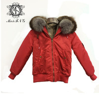 Color Matching Collar With Big Raccoon Fur Girl Style Jacket Sleeve Side Zipper Design Daily Waterproof Faux Fur Lining Coat