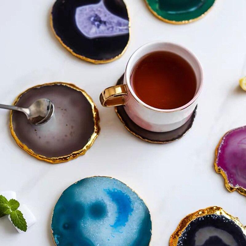 Натуральные кусочки агата, полированные горшки агата, подставки для рукоделия, позолоченное кружево, минеральное украшение, камень, праздн...