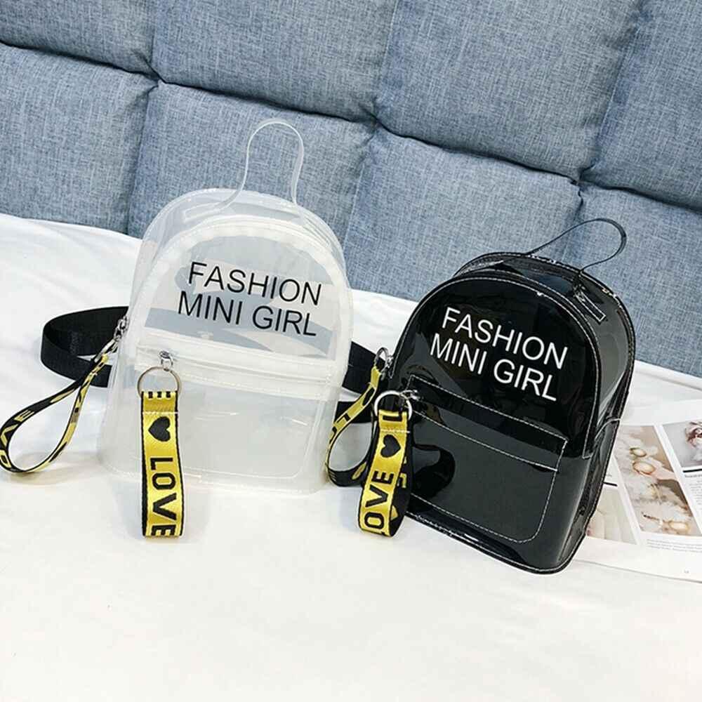 6 cores Moda Feminina Mini Mochila de PVC Transparente bolsa de Ombro Mochila Escolar Senhoras Meninas Mochilas de Viagem