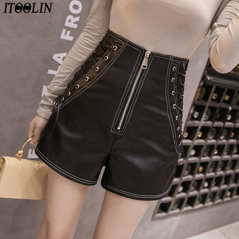 ITOOLIN High Waist Zipper Shorts Women Spring Autumn Fashion PU Shorts Laides Sexy Black Bandage Trousers Wine Short Shorts