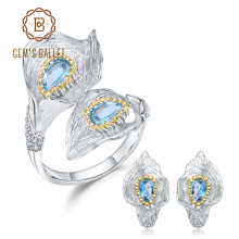 GEMS BALLET 3.02Ct Natural Swiss Blue Topaz 925 Sterling Silver Handmade Callalily Leaf Ring Earrings Jewelry Sets For Women