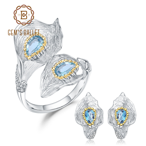 Image 1 - GEMS BALLET 3.02Ct Natural Swiss Blue Topaz 925 Sterling Silver Handmade Callalily Leaf Ring Earrings Jewelry Sets For Women