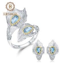GEMS BALLETT 3.02Ct Natürliche Swiss Blue Topas 925 Sterling Silber Handgemachte Callalily Blatt Ring Ohrringe Schmuck Sets Für Frauen