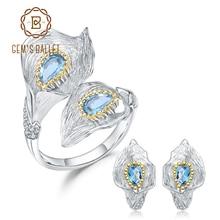 GEMS balet 3.02Ct naturalny szwajcarski niebieski topaz 925 Sterling Silver Handmade Callalily pierścionek w kształcie liści kolczyki komplety biżuterii dla kobiet