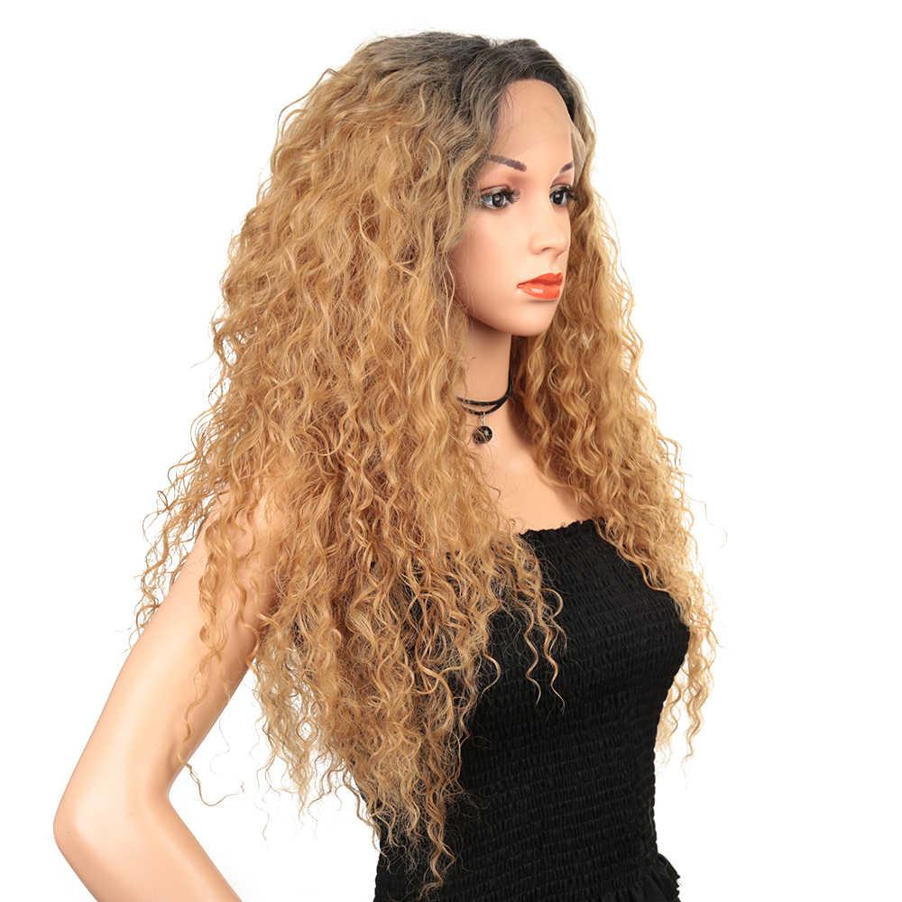 28 pulgadas peluca rizada Afro pelucas delanteras de encaje sintético para mujeres negras Pre desplumadas con pelo de bebé Ombre Cosplay Peluca de encaje sin pegamento