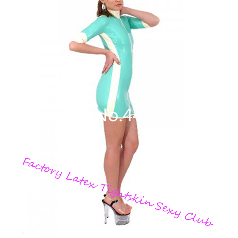 Latex caoutchouc infirmière robe serré col haut Latex jupe école fille cosplay costume sexy halloween costume - 3