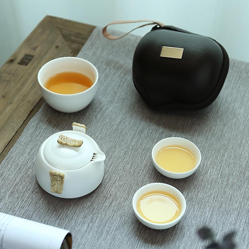 Image 3 - Chińskie Kung Fu zestaw herbaty biały porcelany dzbanek ceramiczny mat wiązki garnek japoński gospodarstwa domowego filiżanki do herbaty przenośny na zewnątrz podróży GaiwanZest. naczyń do herbaty   -