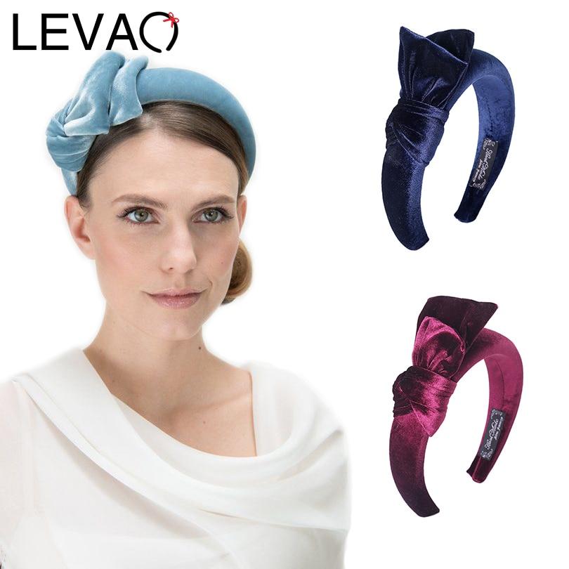 LEVAO Gold Velvet Knotted Padded Headband Bohemian Style New Bow Hairband Bezel Turban Women Girls Hair Accessories Hair Hoop