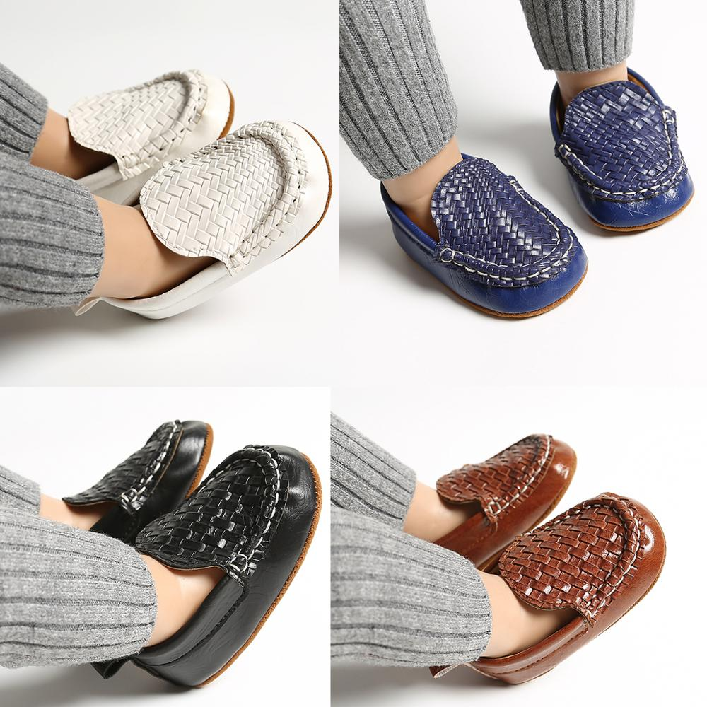 2020 Fashion Infant Kid Baby Boy Girl Shoes Casual Loafer Flat Shoe Weave Baby Walk Trainner PU Leather Boat Peas Shoes 0-18M