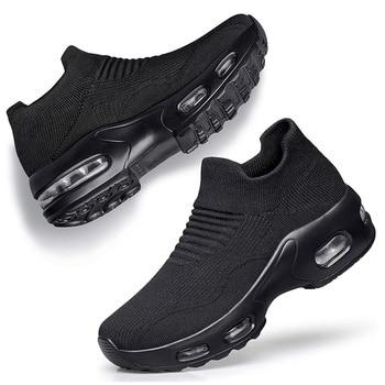Womens Walking Shoes Slip On Sock Sneakers Cushion Platform Loafers Lady Casual Shoes Nurse Mesh Women Flats Zapatillas Enfermer siddons women shoes flat breathable mesh platform sneakers women soft comfortable slip on ladies casual flats shoes sock shoes