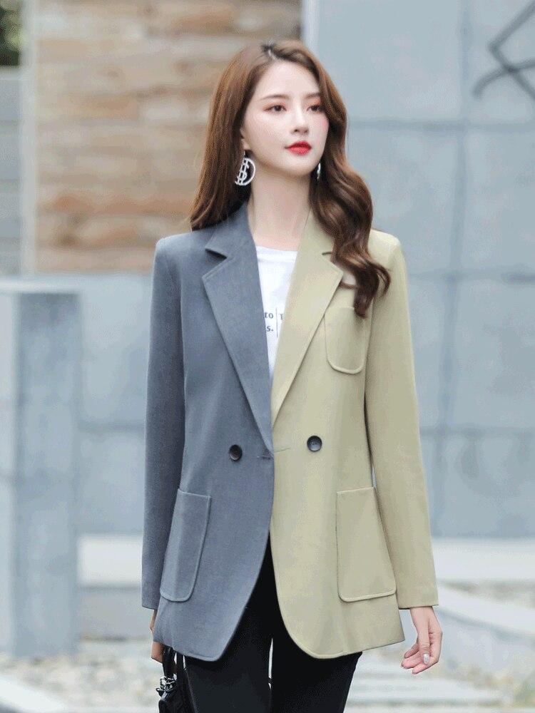 Korean Vintage Ladies Blazer Splice Gray Casual Loose Simple Suit Jacket Long Sleeve Women's Clothing Spring Autumn New MM60NXZ