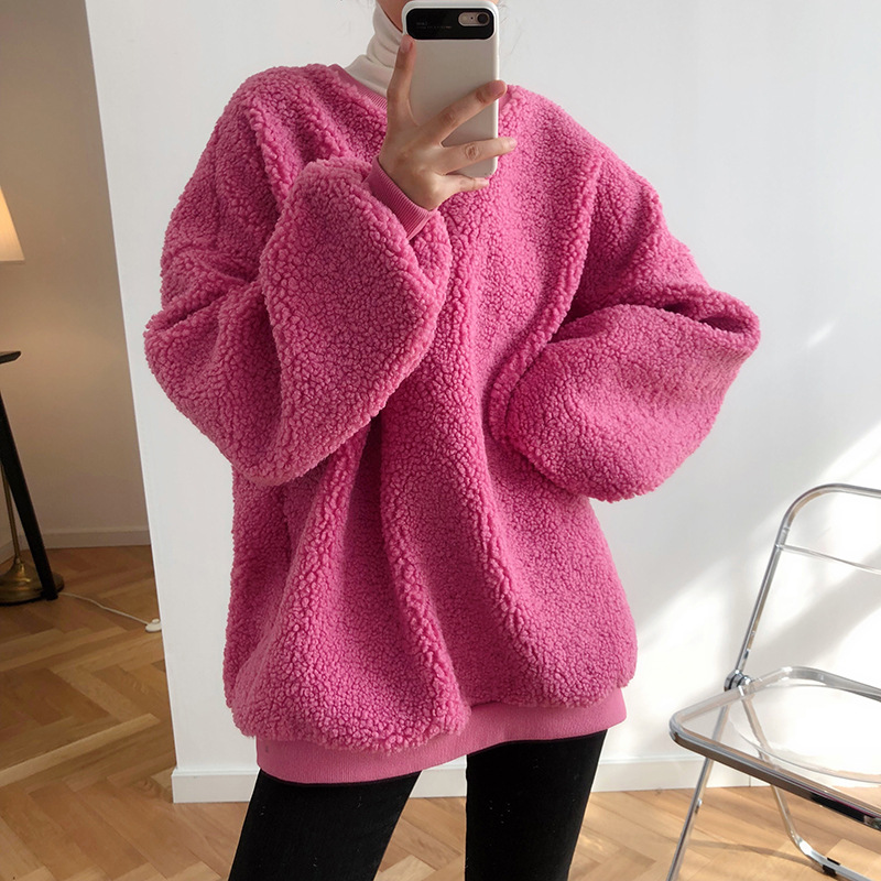 2020 Spring Long Sleeve Women Thick Hoodies O-Neck Lambswool Women Warm Oversize Peach Hoodies Women Tops