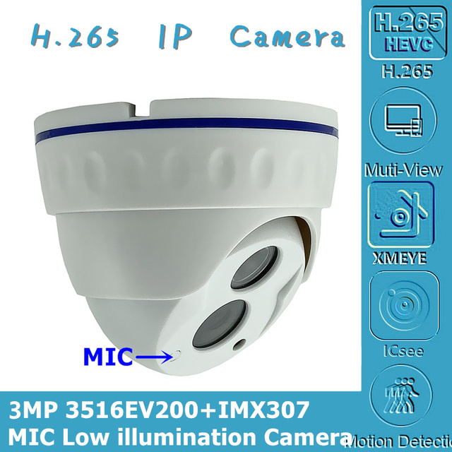 לשלב מיקרופון אודיו Sony IMX307 + 3516EV200 IP כיפה מצלמה תאורה נמוכה NightVision IRC 3MP H.265 ONVIF CMS XMEYE P2P